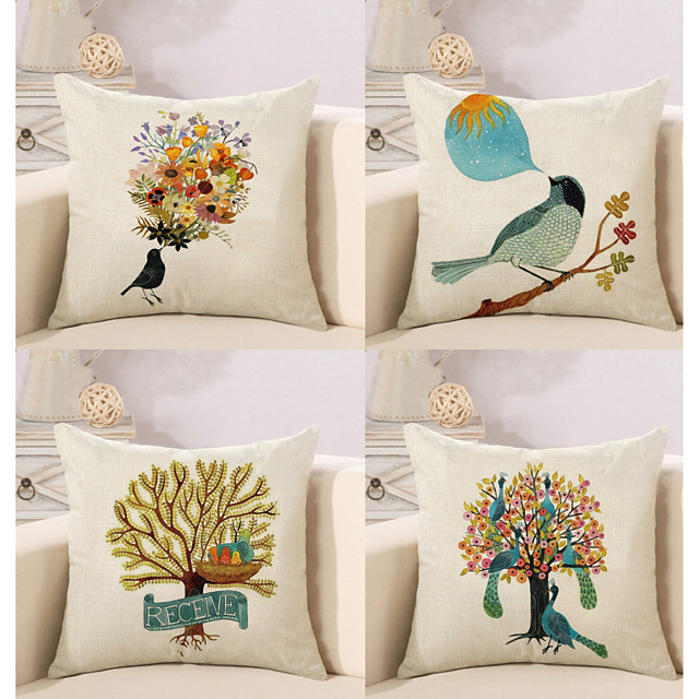 4 pcs Pillow Cover, Animal European Square Traditional Classic