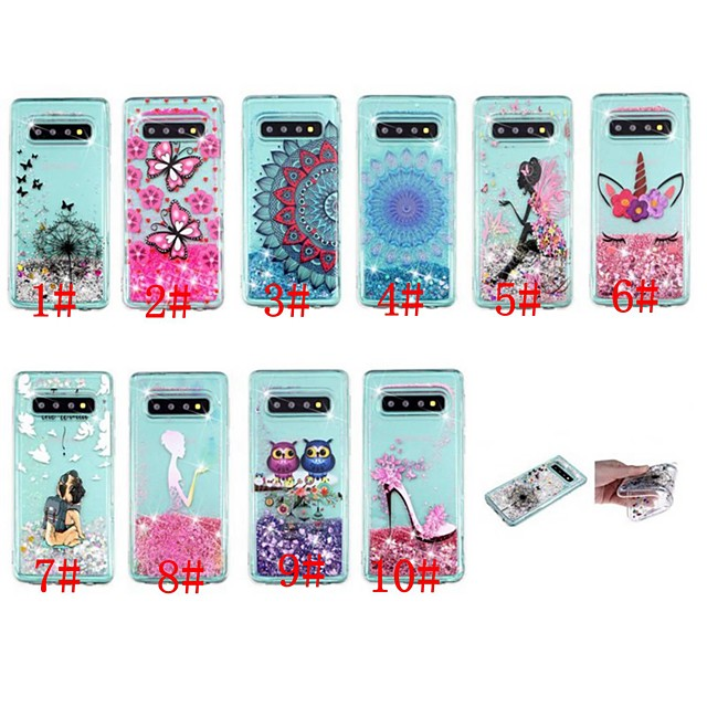 Case For Samsung Galaxy S9 / S9 Plus / S8 Plus Shockproof / Flowing Liquid / Transparent Back Cover Butterfly / Glitter Shine Soft TPU