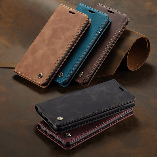 CaseMe Retro Business Leather Magnetic Flip Case For Samsung Galaxy S10 / S9 / S8 / S10 Plus / S9 Plus / S8 Plus / A50 / A30 With Wallet Card Slot Stand Case Cover