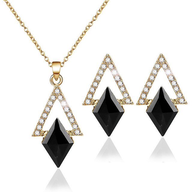 Women's Crystal Stud Earrings Pendant Necklace Geometrical European Trendy Fashion Earrings Jewelry Gold For Party Holiday Street Festival 3pcs