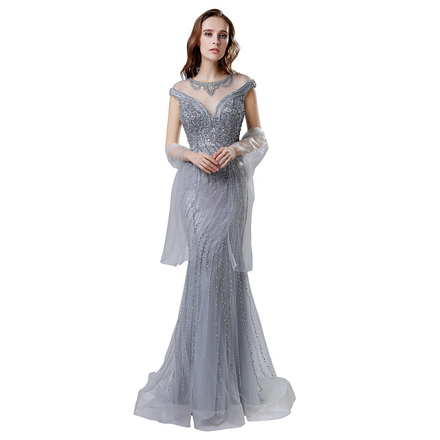 Mermaid / Trumpet Elegant & Luxurious See Through Formal Evening Dress Jewel Neck Short Sleeve Court Train Tulle with Crystals Beading Sequin 2020