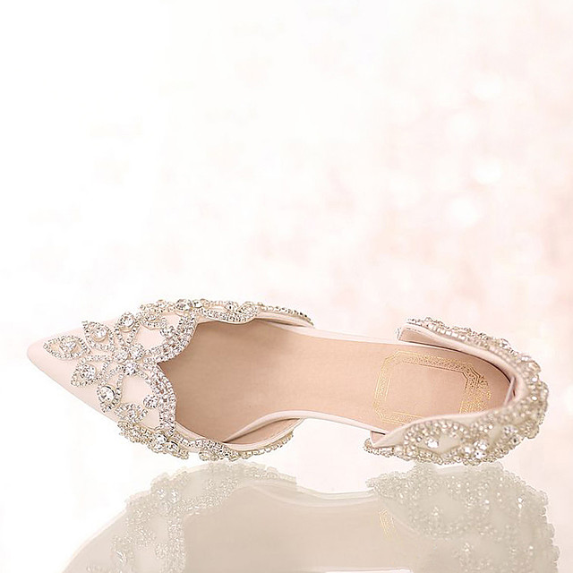 Women's Wedding Shoes Glitter Crystal Sequined Jeweled Stiletto Heel Pointed Toe Sweet Wedding Party & Evening PU Rhinestone Crystal Solid Colored Summer Ivory