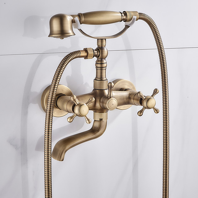 Brass Bathtub Faucet,Wall Mounted Antique Brass Rainfall Shower Mixer Taps Contain with Handshower and Cold/Hot Water