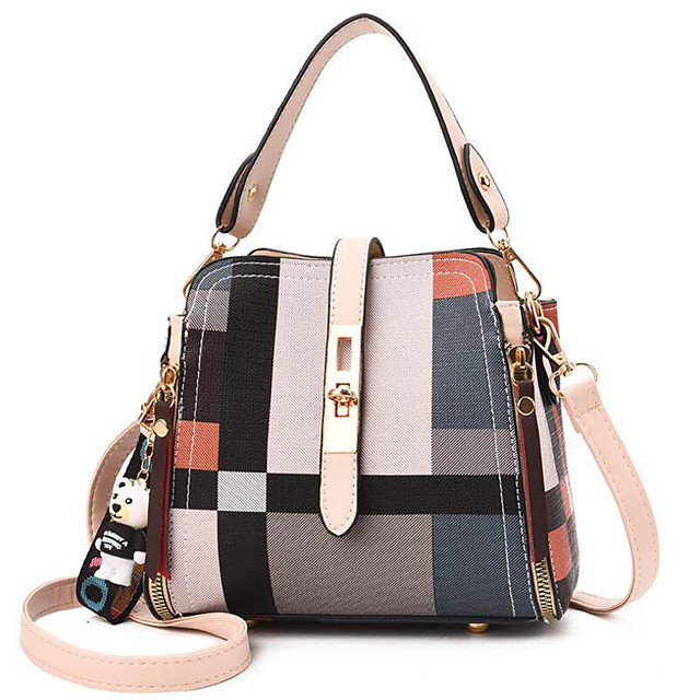 Women's Polyester / PU Top Handle Bag Geometric Pattern Red / White / Brown