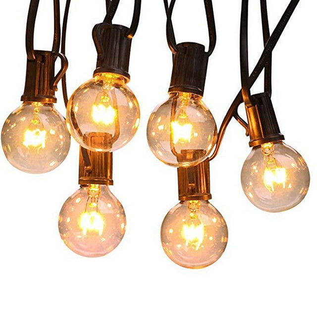 Outdoor String Lights 7.62M 25ft G40 Bulbs for Wedding Backyard Bistro Patio Balcony Home Decoration 7W Globe Light String 220-240V