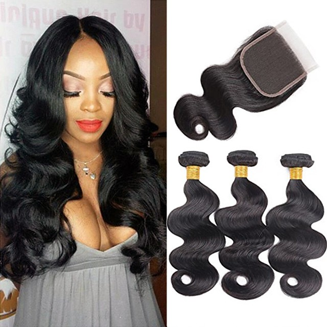 3 Bundles with Closure Hair Weaves Brazilian Hair Body Wave Human Hair Extensions Remy Human Hair 100% Remy Hair Weave Bundles 345 g Natural Color Hair Weaves / Hair Bulk Human Hair Extensions 8-20