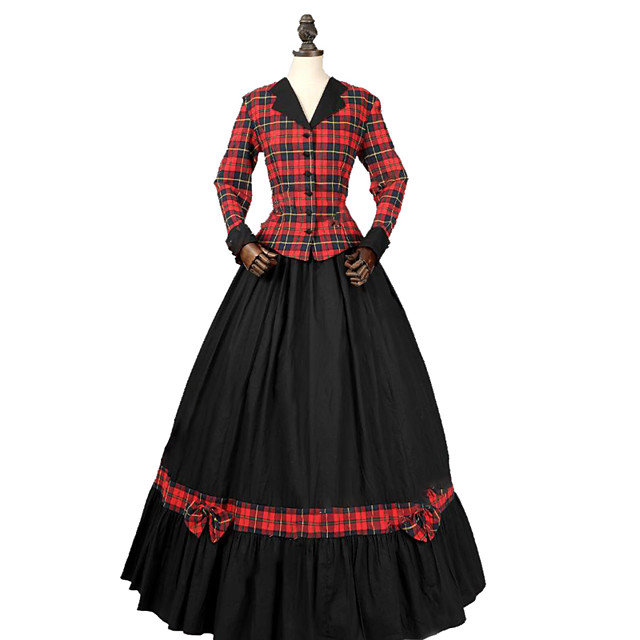 Princess Rococo Victorian Dress Party Costume Costume Women's Cotton Costume Red+Black Vintage Cosplay Masquerade Party & Evening Long Sleeve Floor Length Long Length Plus Size