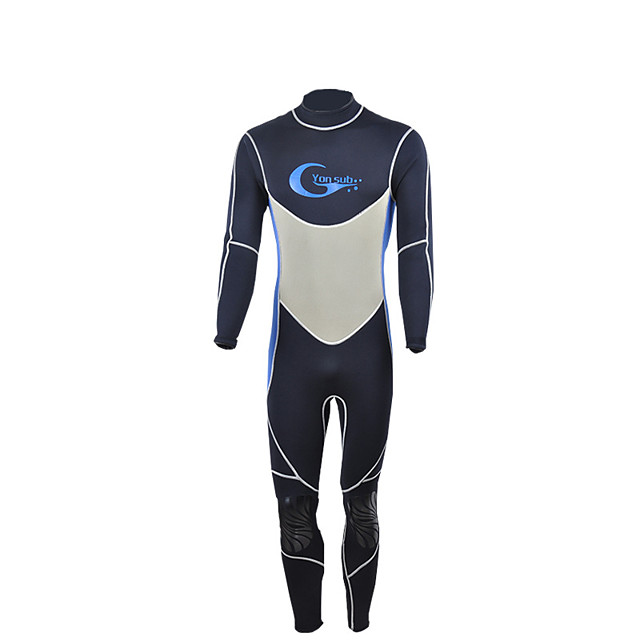 YON SUB Men's Full Wetsuit 3mm CR Neoprene Diving Suit Thermal / Warm High Elasticity Stretchy Long Sleeve Back Zip - Diving Water Sports Patchwork Autumn / Fall Spring / Micro-elastic