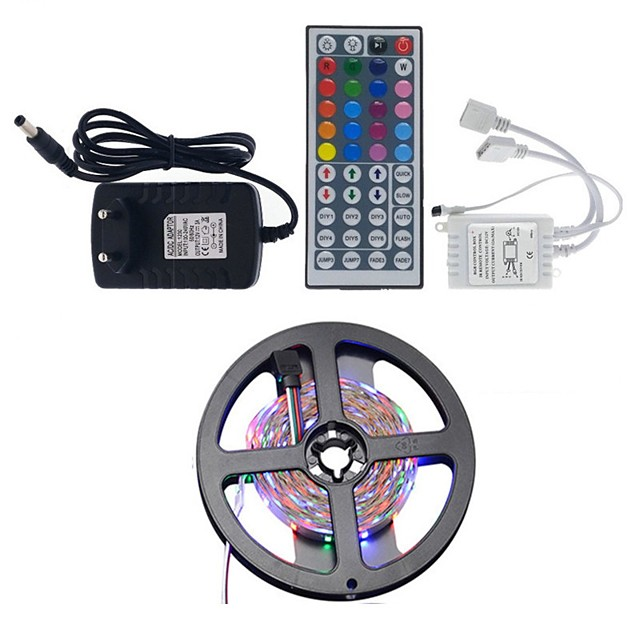 5m Light Sets LED Light Strips RGB Tiktok Lights 300 LEDs 2835 SMD 8mm 1 44Keys Remote Controller 1 x 2A power adapter RGB+White Waterproof Party Decorative 12 V 1 set