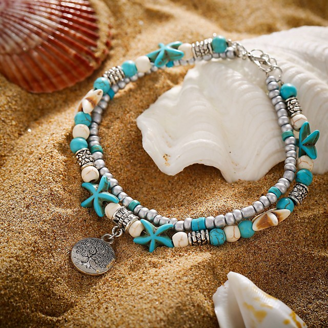 Ankle Bracelet Trendy Casual / Sporty Fashion Women's Body Jewelry For Daily Carnival Tropical Turquoise Stone Alloy Tree of Life Starfish Turquoise 1pc