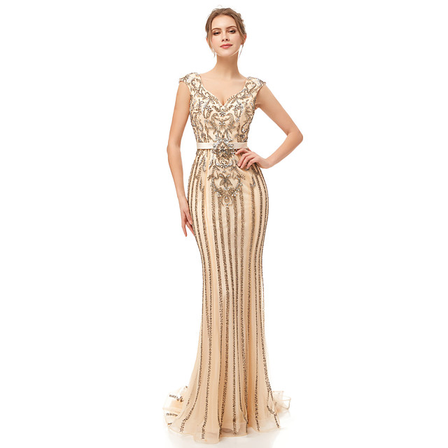 Mermaid / Trumpet Elegant & Luxurious Sexy Formal Evening Dress Plunging Neck Sleeveless Court Train Tulle with Sash / Ribbon Crystals Beading 2020