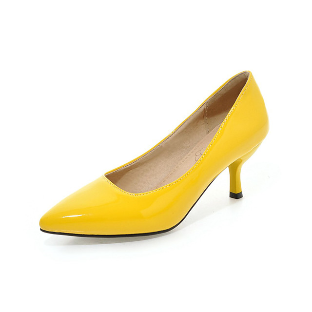Women's Heels Plus Size Kitten Heel Pointed Toe Classic Minimalism Party & Evening Office & Career Patent Leather PU Black / Purple / Yellow
