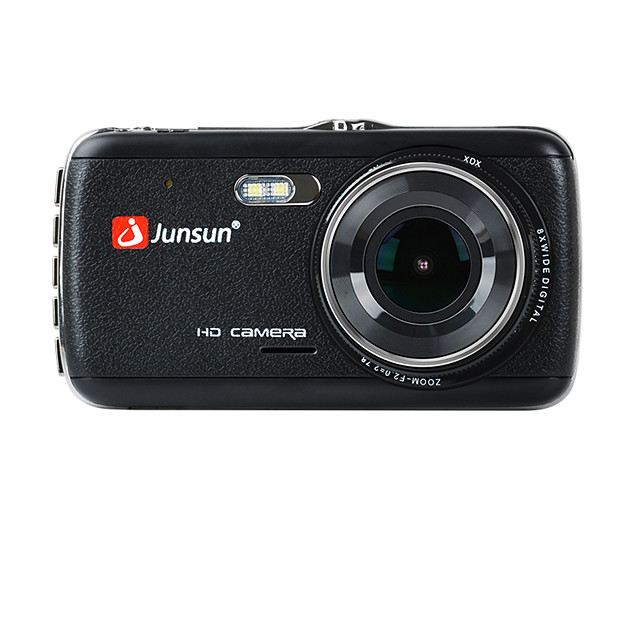 Junsun H7C 1296P HD Dual Lens Car DVR 170 Degree Wide Angle 1/3 inch color CMOS 4 inch IPS Dash Cam with Night Vision/G-Sensor/Motion detection 2 infrared LEDs Car Recorder