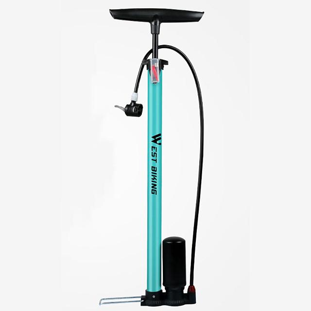 Mini Bike Pump Bike Floor Pump with Gauge Portable Lightweight Durable High Pressure Accurate Inflation For Road Bike Mountain Bike MTB Cycling Bicycle Steel Alloy Black Blue