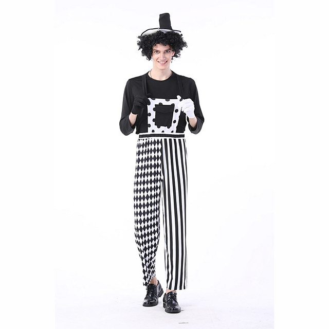 Magician Cosplay Costume Masquerade Adults' Male Cosplay Halloween Halloween Carnival Masquerade Festival / Holiday Terylene White / Black Male Female Carnival Costumes Striped Grid / Plaid Patterns