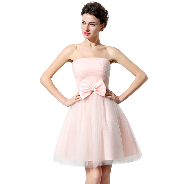 A-Line Strapless Short / Mini Tulle Bridesmaid Dress with Bow(s) / Ruched