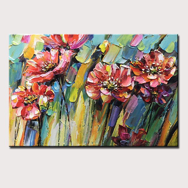 Oil Painting Hand Painted - Still Life Floral / Botanical Modern Stretched Canvas