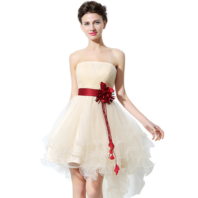A-Line Strapless Asymmetrical Tulle Bridesmaid Dress with Sash / Ribbon