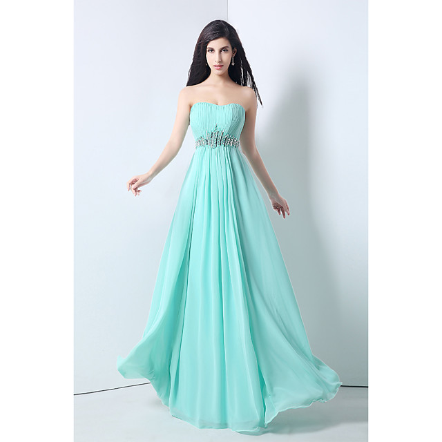 A-Line Cute Prom Formal Evening Dress Sweetheart Neckline Sleeveless Floor Length Chiffon with Beading Draping 2020