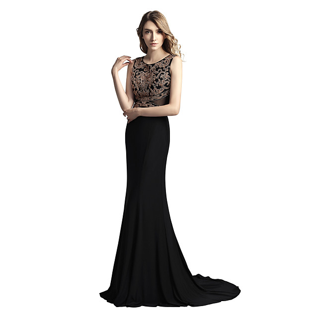 Mermaid / Trumpet Elegant & Luxurious Sparkle & Shine Formal Evening Dress Jewel Neck Sleeveless Court Train Jersey with Beading 2020
