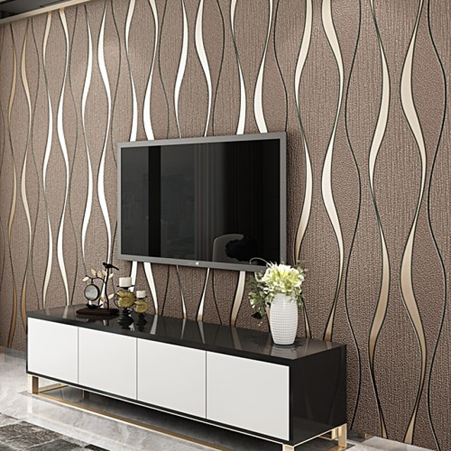 Striped Home Decoration Modern Wall Covering, Nonwoven Material Adhesive required Wallpaper, Room Wallcovering