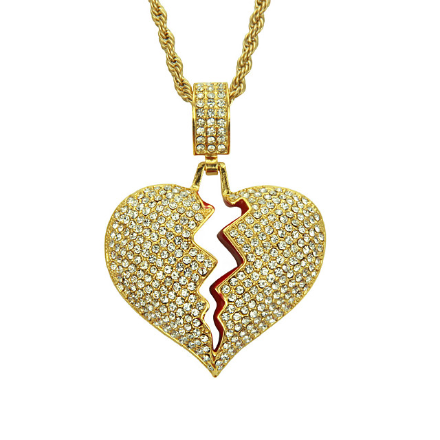 Men's Crystal Pendant Necklace Broken Heart Heart Relationship European Trendy Fashion Chrome Gold Silver 60 cm Necklace Jewelry 1pc For Daily Carnival Street