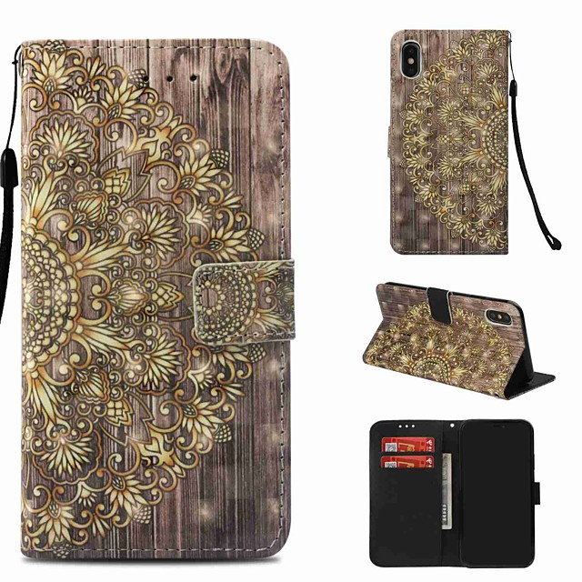 Case For Apple iPhone XS / iPhone XR / iPhone XS Max Wallet / Card Holder / with Stand Full Body Cases Flower Hard PU Leather