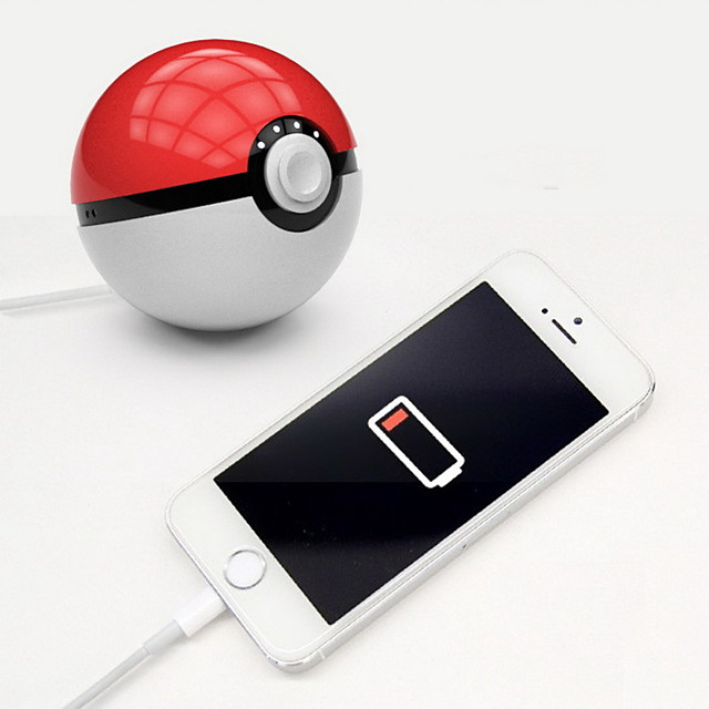Novelty Newest hot Quick phone Charge Red Ball Power Bank 10000mA Charger With LED Light Mobile game Cosplay Pokemon