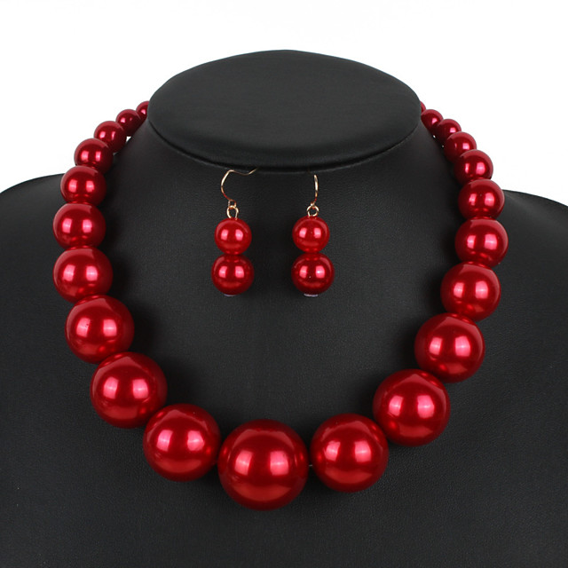 Women's Necklace Earrings Pearl Necklace Geometrical Simple Sweet Fashion Cute Elegant Imitation Pearl Earrings Jewelry Red / Dark Red / Black / White For Wedding Party Daily Club Festival 1 set