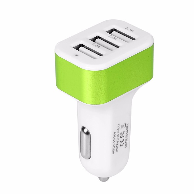 Car Charger USB Car Adapter Phone Chargers with 12V-24V Input Fast Charging Intelligent Power 5V/5.1A 3 Port Car Charger Compatible with iPhone, iPad, Samsung, Huawei and More