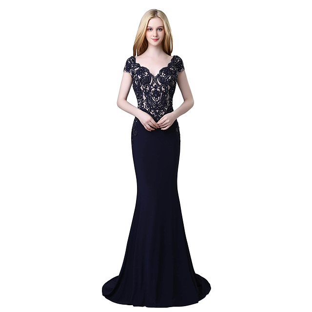 Mermaid / Trumpet Beautiful Back Vintage Inspired Formal Evening Dress Plunging Neck Short Sleeve Court Train Jersey with Beading Appliques 2020