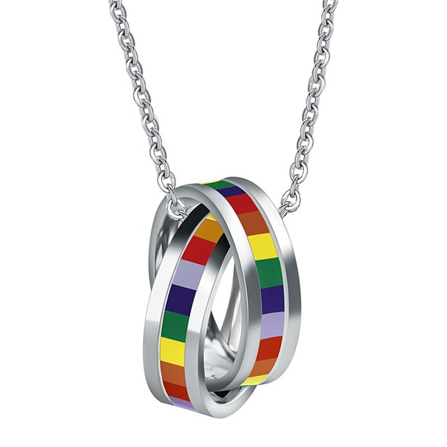 Pendant Necklace Necklace Rainbow Steel Stainless For LGBT Pride Cosplay Men's Costume Jewelry Fashion Jewelry