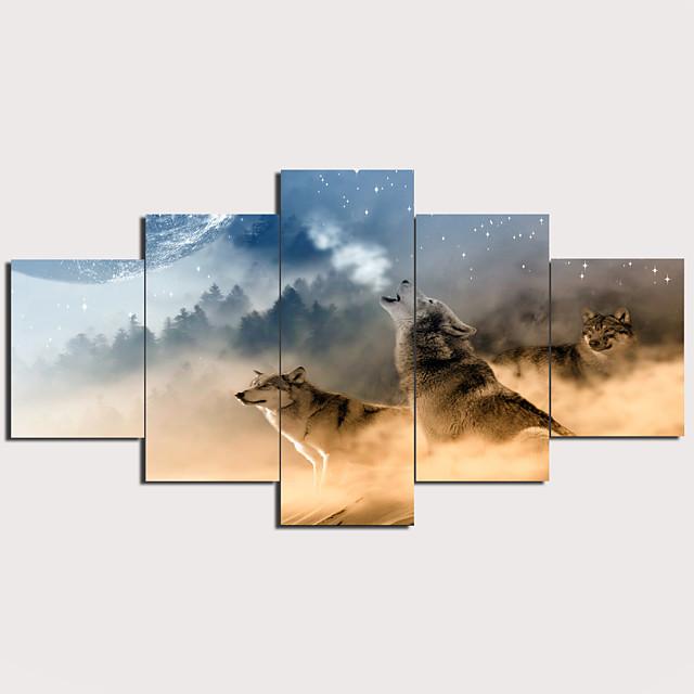 Print Stretched Canvas Prints - Landscape Animals Modern Traditional Five Panels Art Prints