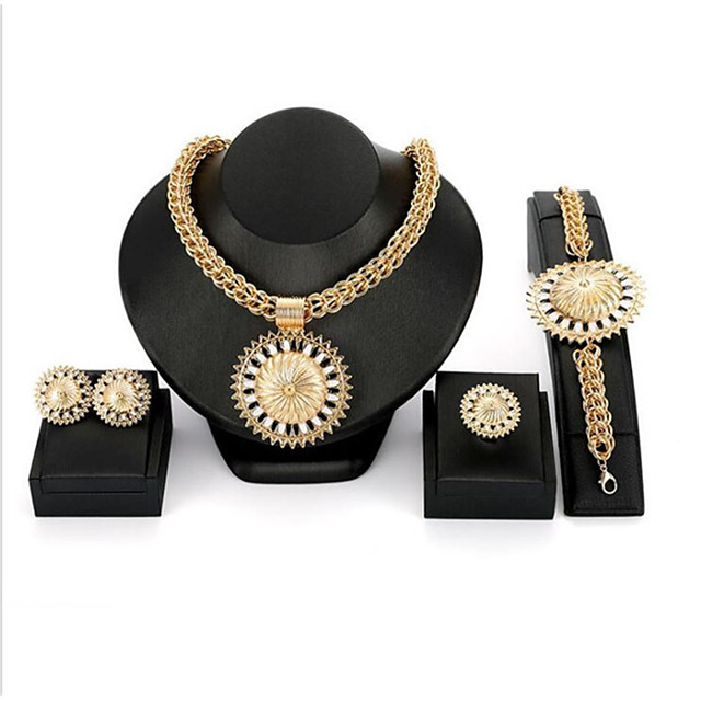 Women's Gold Cubic Zirconia Bridal Jewelry Sets Classic Flower Classic Earrings Jewelry Gold For Wedding Party Four-piece Suit