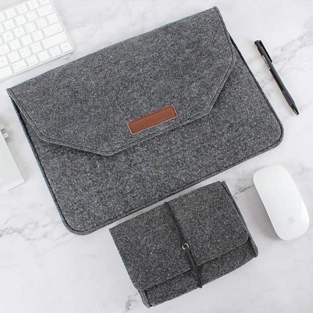 Natural Wool Felt Laptop Case Protector Bag Plus Power Pack Compatible 11-15 Inch MacBook Pro MacBook Air Laptop Gray Black
