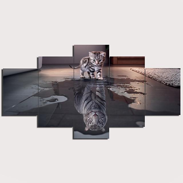 Print Stretched Canvas Prints - Animals Modern Traditional Five Panels Art Prints