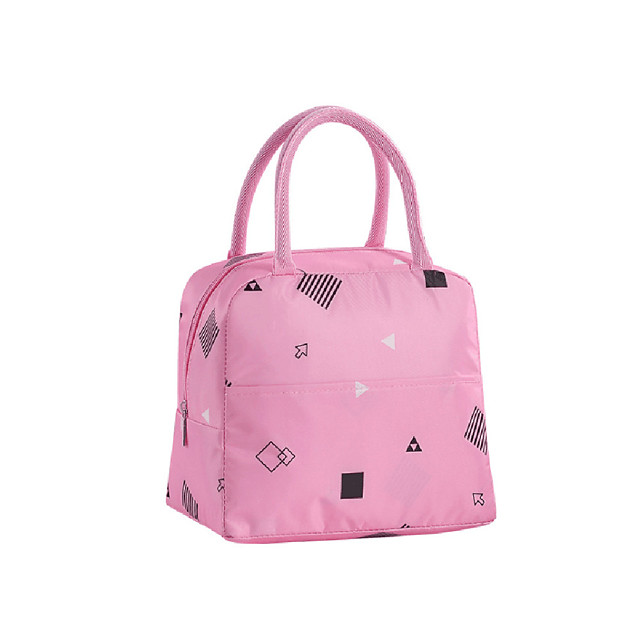 Women's Oxford Cloth Lunch Bag Zipper Scenery Geometric Pattern Daily Outdoor Handbags Pink Green Sky Blue Rainbow