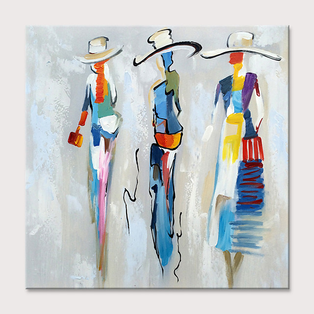 Oil Painting Hand Painted - Abstract People Classic Modern Rolled Canvas