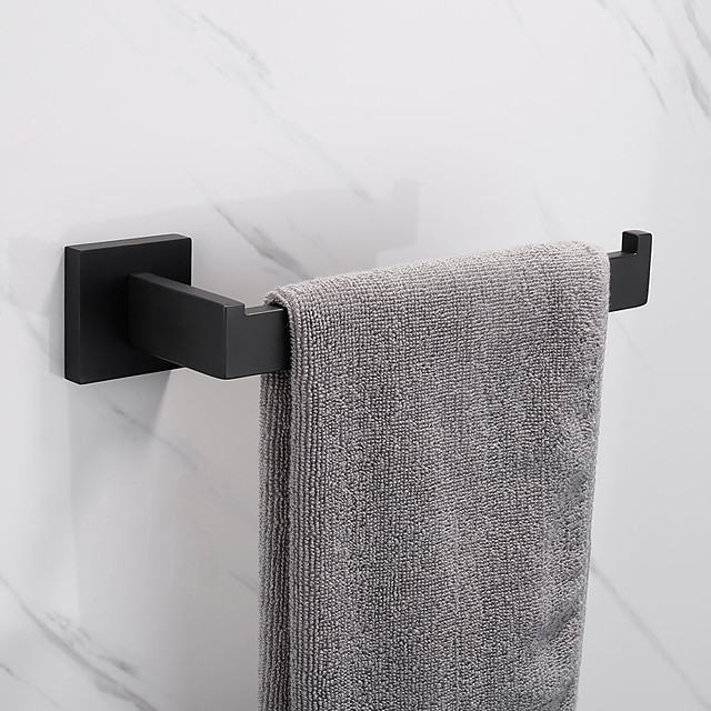 Towel Bar New Design Stainless Steel Bathroom Single Towel Rod Wall Mounted Matte Black 1pc