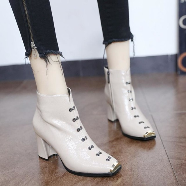 Womens Boots Chunky Heel Square Toe PU Booties / Ankle