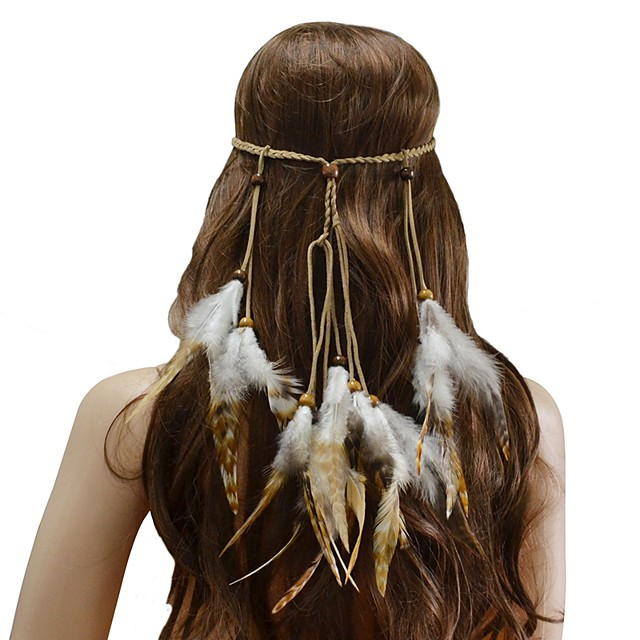 Women's Headbands For Festival Cord Feather Brown 1pc