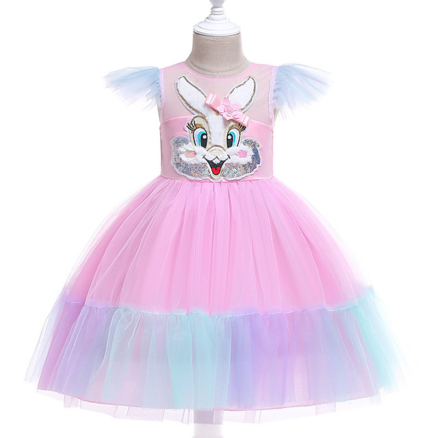 Unicorn Dress Flower Girl Dress Girls' Movie Cosplay A-Line Slip Cosplay Pink / Light Blue Dress Halloween Carnival Masquerade Tulle Polyester