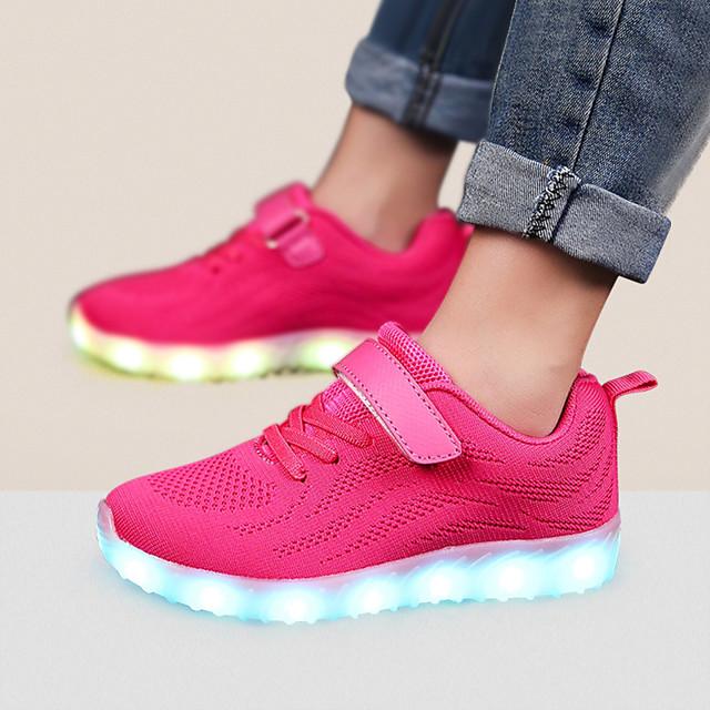 Boys' Trainers / Athletic Shoes LED / Comfort / LED Shoes Net / Fabric Little Kids(4-7ys) / Big Kids(7years +) Magic Tape / LED / Luminous Black / Pink / Dark Blue Fall / EU37