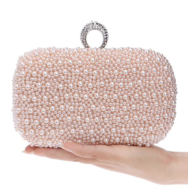 Women's Bags Evening Bag Pearls Solid Colored Pearl Party Club Evening Bag Wedding Bags Handbags White Pink