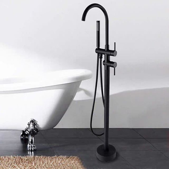 Painted Finishes Bathtub Faucet,Black Free Standing Two Handles One Hole Rotatable StandardSpout/Spray Shower Faucet with Handheld Shower and  Hot and Cold Water Switch