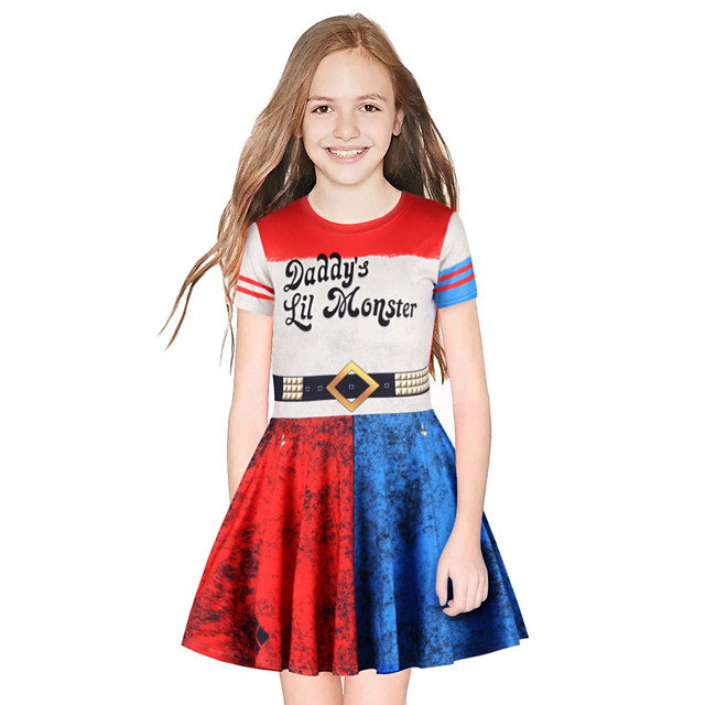 Harley Quinn Dress Girls' Movie Cosplay Cosplay Red / Blue Dress Halloween Carnival Masquerade Polyester