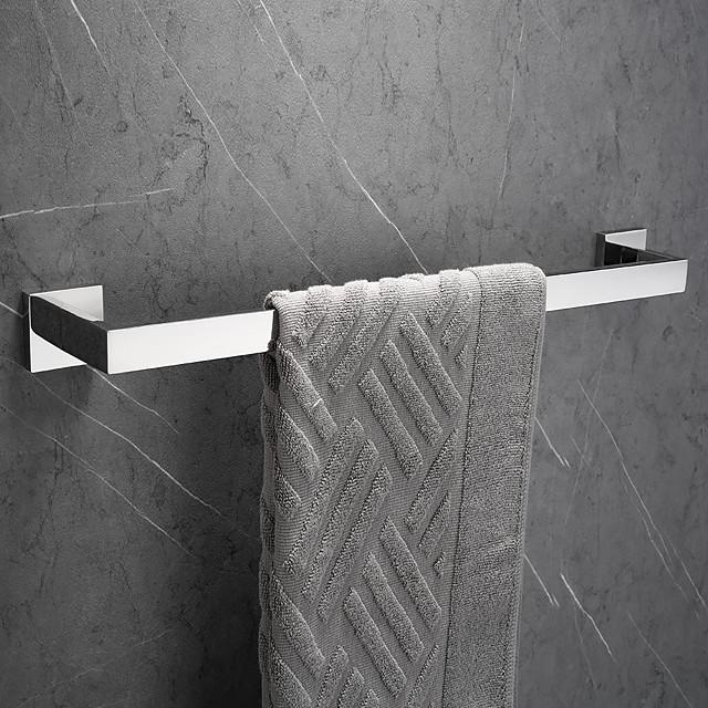 Bathroom Towel Bar Rectangle Metal Wall Mounted Bath Single Towel Hanger Polished Silvery 1pc
