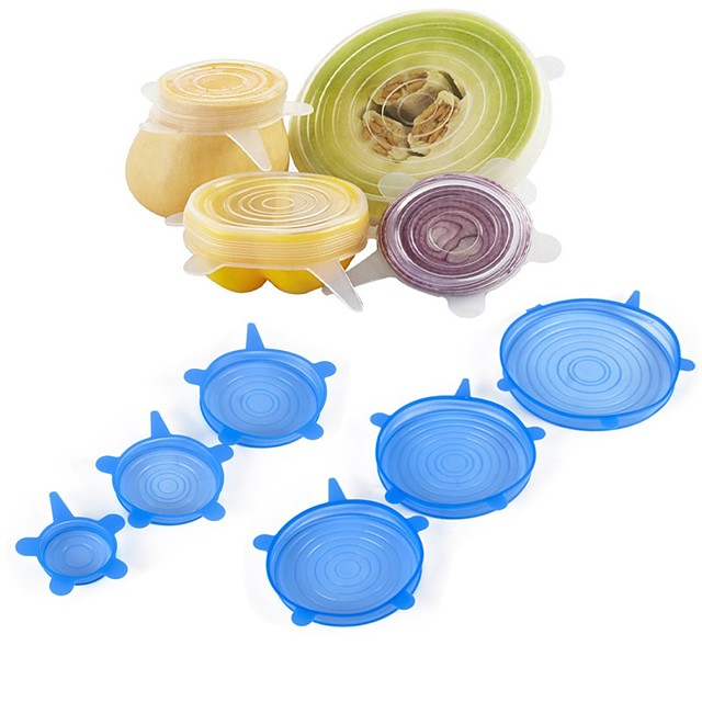 6Pcs Food Wraps Reusable Silicone Food Fresh Keeping Sealed Covers Silicone Seal Vacuum Stretch Lids Saran Wraps Organization