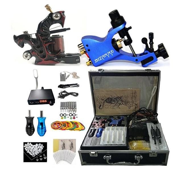 BaseKey Professional Tattoo Kit Tattoo Machine - 2 pcs Tattoo Machines, Professional / New Aluminum Alloy 18 W 1 rotary machine liner & shader / 1 alloy machine liner & shader / Case Included
