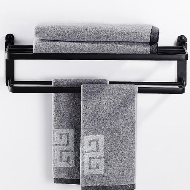 multifunksjonelt håndklehylle nytt design moderne aluminium dobbelt håndkle bar veggmontert svart 1stk